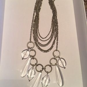 R.J.L silver and crystal necklace